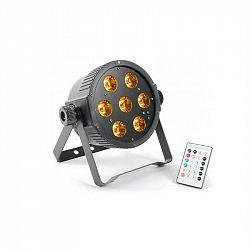 Beamz FlarPAR, 7 x 15 W, 5-v-1 RGBAW-LED, DMX IR, vrátane diaľkového ovládania