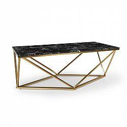 Besoa Black Onyx I, konferenčný stolík, 110 x 42,5 x 55 cm (Š x V x H), mramorový vzhľad, zlatý/čierny