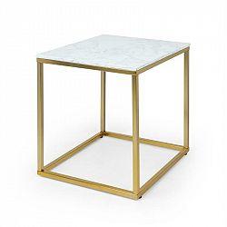 Besoa White Pearl I, konferenčný stolík, 50 x 50 x 50 cm (Š x V x H), mramorový vzhľad, zlatý/biely