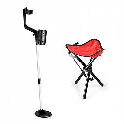 DURAMAXX Basic Red, sada na hľadanie pokladov, detektor kovov + kempovacia stolička, 16,5 cm sonda