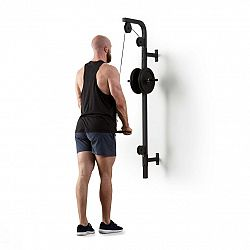 KLARFIT Stronghold , posilňovacia kladka, montáž na stenu, 100 kg, 2,5 m kábel, tricepsová tyč, čierna