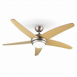 Klarstein Bolero, stropný ventilátor so svietidlom, 55 W, 134 cm, diaľkový ovládač, javorové ramená
