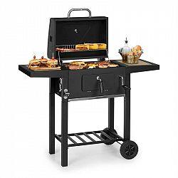 Klarstein Meat Machine, gril na drevené uhlie, 45 x 32,5 cm, teplomer, kolieska, čierny