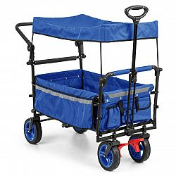 Waldbeck Easy Rider, ťahací vozík so strieškou, do 70 kg, teleskopická tyč, modrý